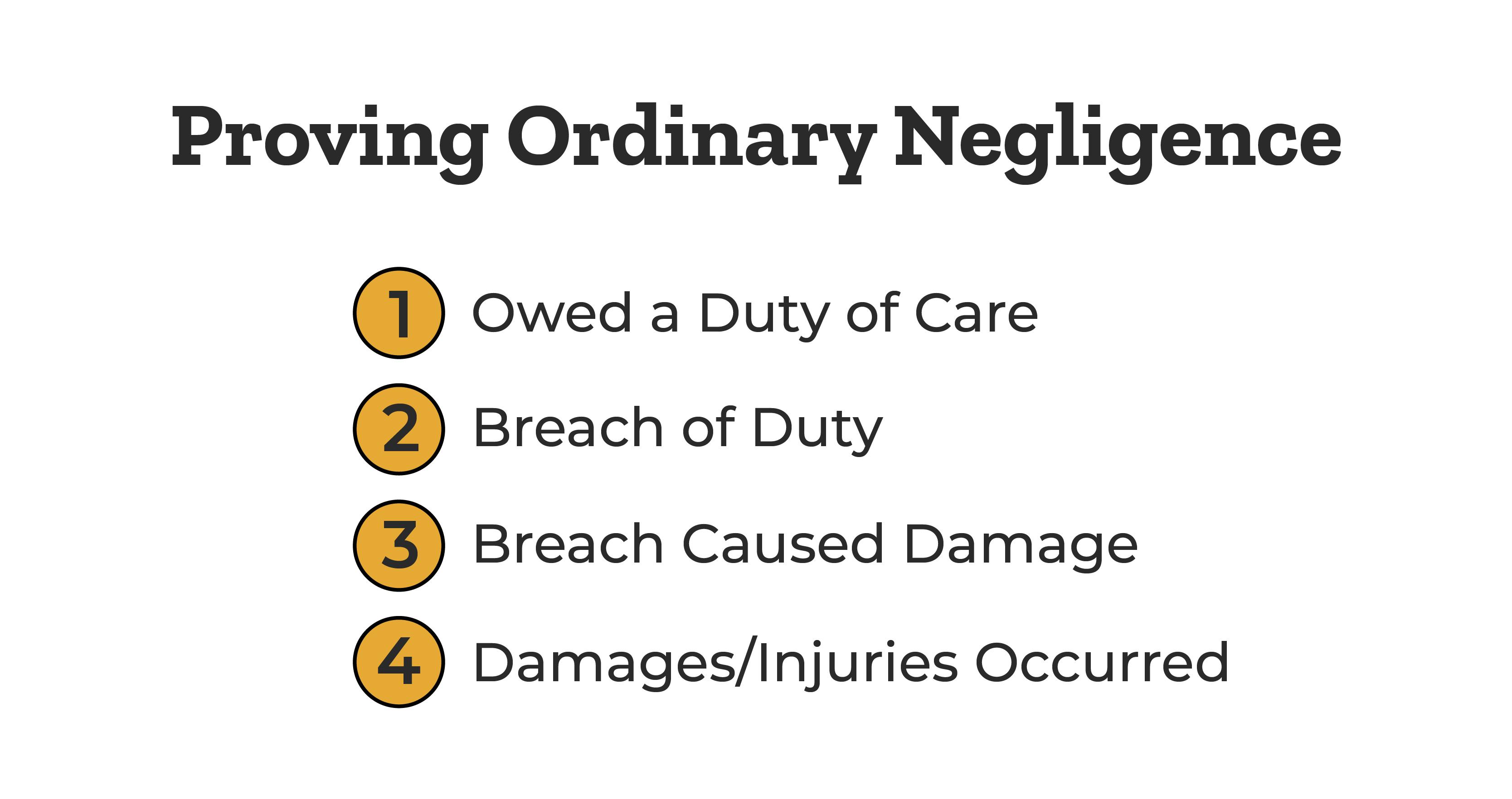 proving-ordinary-negligence-owed-care-breach-duty-damage-injury